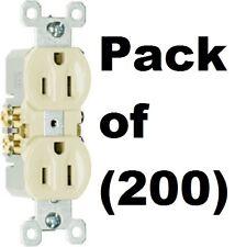 200 ea Pass & Seymour Standard 3 Wire 15A 125V 2 Pole UL Ivory Duplex Outlets
