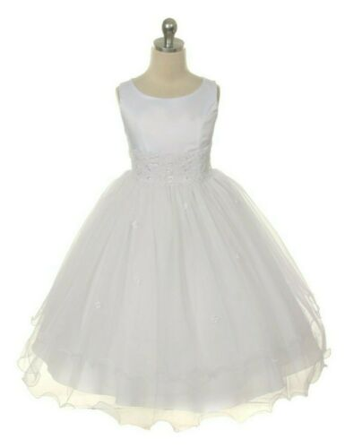 White First Communion Flower Girl Dress Lace Tulle Layered  Easter Wedding Party