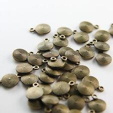 40pcs Antique Brass Tone Base Metal Charms-Drop-Flat Round 8x11mm (11571Y-B-379B