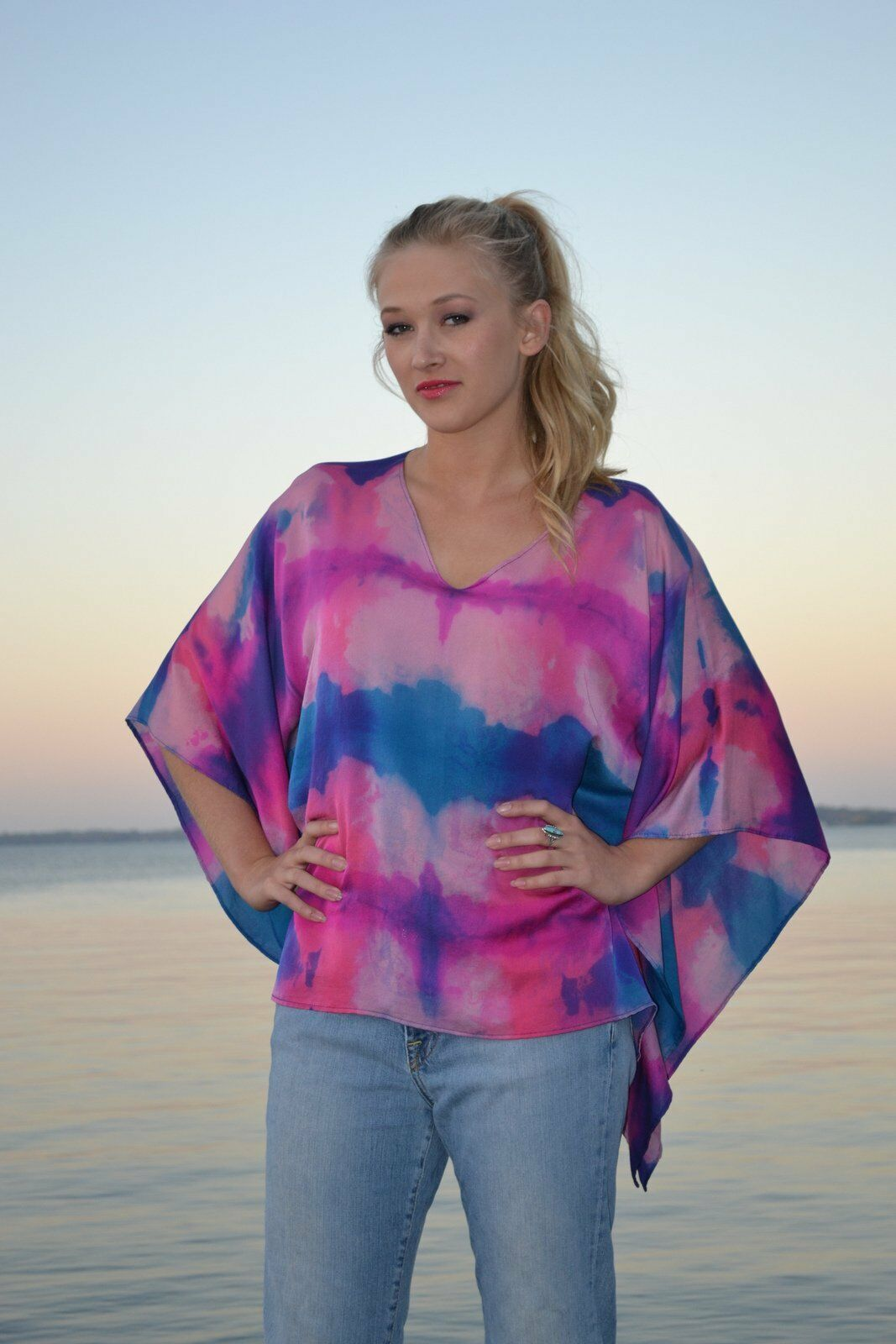 Handpainted Silk Kaftan Caftan Top M Dolman shirt blouse Blau Rosa Fuscia NEW