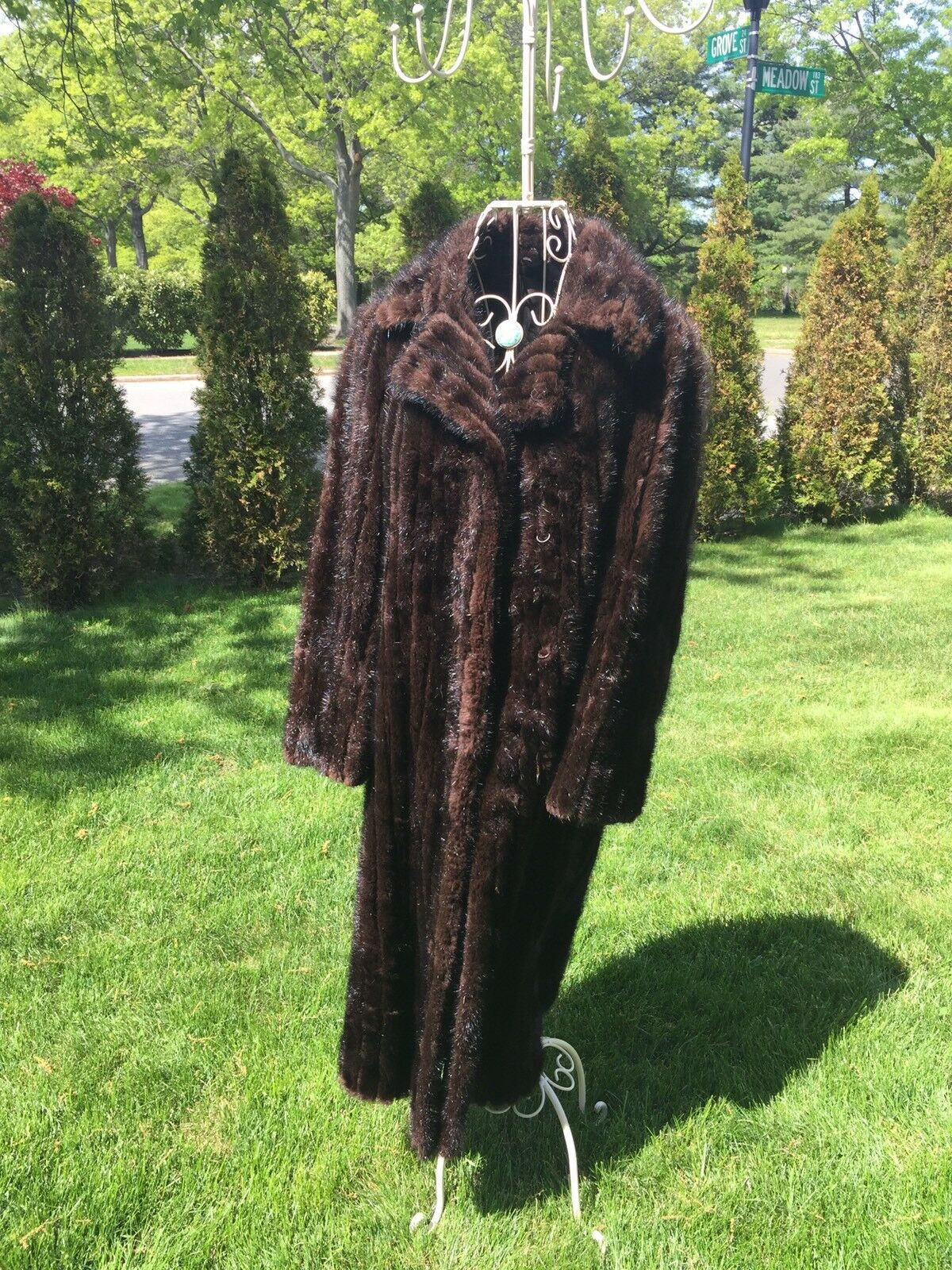 Borgersens Seattle Furs Women's Brown Brown Brown Fur Trench Coat W  Silk Lining SZ L f0e4b7