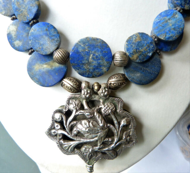 Antique Chinese Silver Bird Pendant and Untreated Afghan Lapis Lazuli Necklace