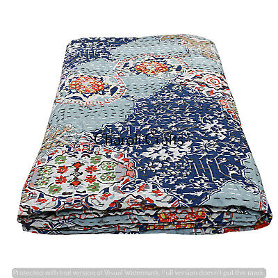 Kantha Quilt Patchwork Indian Cotton Handmade Bedspread Queen Size Gudri Blue au