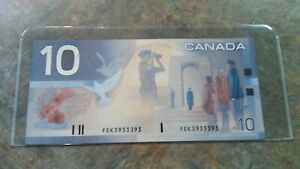 2001-Bank-of-Canada-10-Dollar-note-Knight-Dodge-FEK3933393-2-digit-RADAR