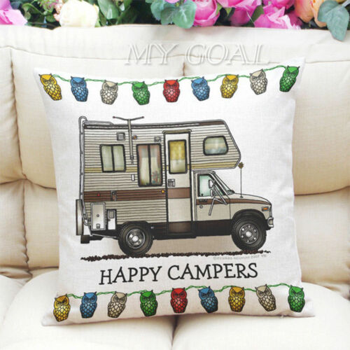 Motorhome Grey Nomads Camping Linen Square ow Cushion Cover!