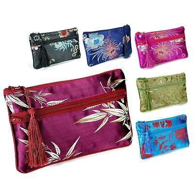 "SILK WALLET 7"" Double Pouch Zipper Soft Brocade Fabric Bag Coin Purse Phone Case"