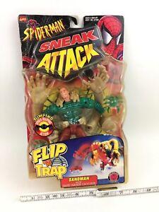Vintage ToyBiz Spider-Man Sneak Attack Flip 'N Trap SANDMAN Action Figure MISP
