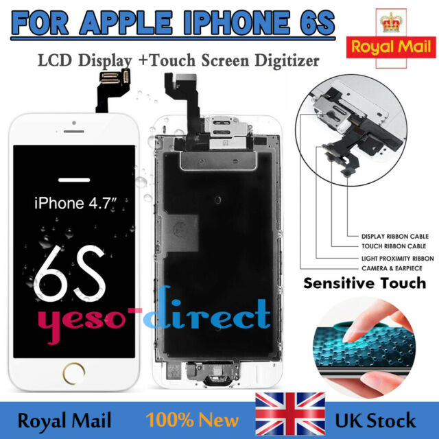 For iPhone 6S White Screen Replacement LCD Touch Digitizer Home Button Display