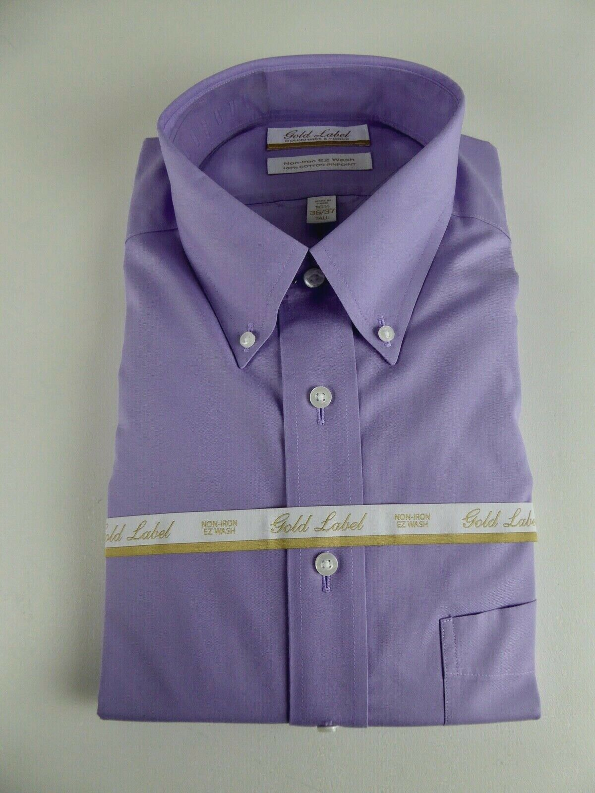 Roundtree & Yorke gold Label Non Iron EZ Wash Pinpoint Dress Shirt NWT 75 Purple