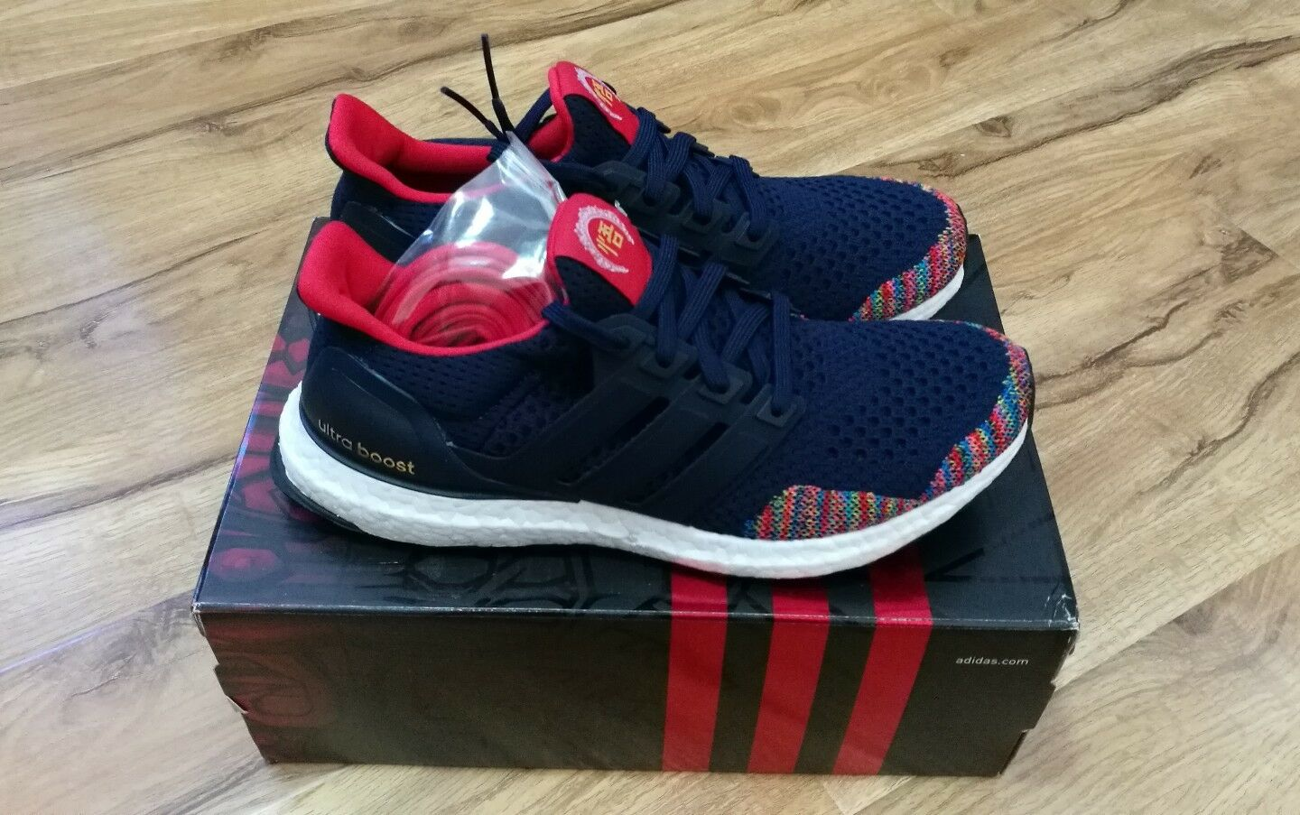 Adidas Ultra Boost CNY 1.0 Navy Blue Multicolour UK10.5 US11 Rainbow Ltd Limited