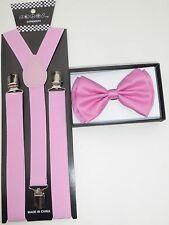 New SUSPENDER & BOW TIE Matching Colors COMBO SET Tuxedo Wedding Suit  US SELLER