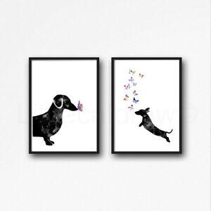 Black-Dachshund-Sausage-Dog-Set-Of-2-Watercolour-Painting-PRINT-5x7-Wall-Art