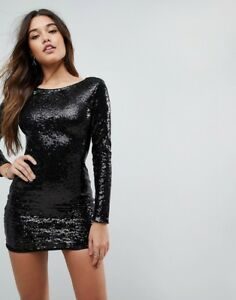 d5878192054b Club L Long Sleeve Plunge Back All Over Sequin Mini dress - uk 10 ...