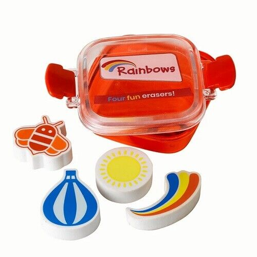 RAINBOW ERASERS 4 DIFFERENT SHAPES AND A CONTAINER OFFICIAL RAINBOW UNIFORM NEW
