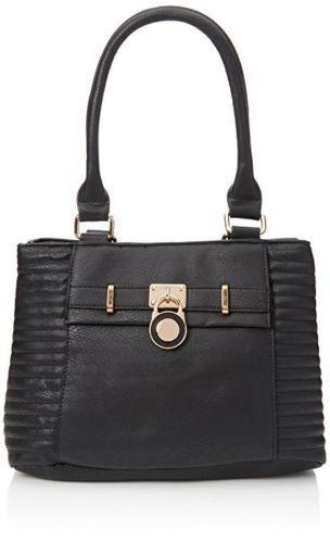 Swankyswans Womens Prague Shoulder Bag Black Leather Look Handbag New.