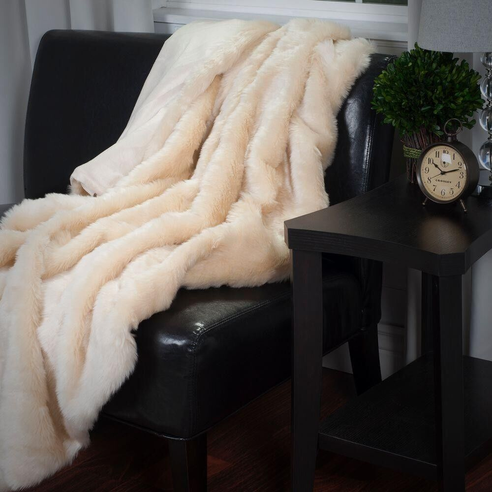 Cozy and Luxury Beige Long Haired Faux Fur Throw Soft Plush Blanket Home Decor