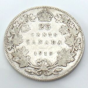 1919-Canada-25-Twenty-Five-Cents-Quarter-Silver-King-George-V-Canadian-Coin-G742