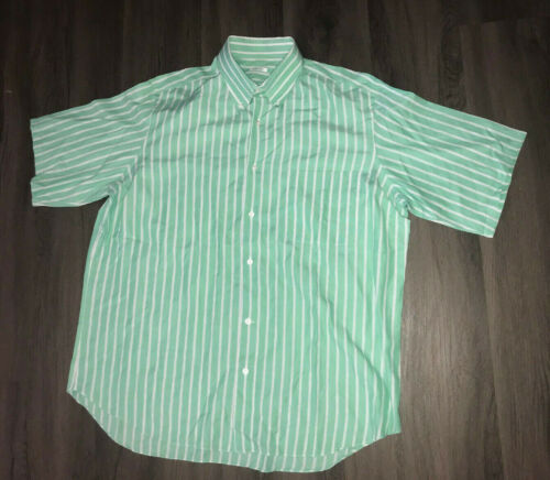 Fray Made In Italy Green And White Striped Button