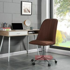 Fabric-Computer-Chair-Adjustable-Brown-Cream-Beige-Home-Office-High-Back-Chrome