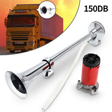 Hot Sale~150DB Loud Single Trumpet Chrome Air Horn 12V Compressor For Car Truck