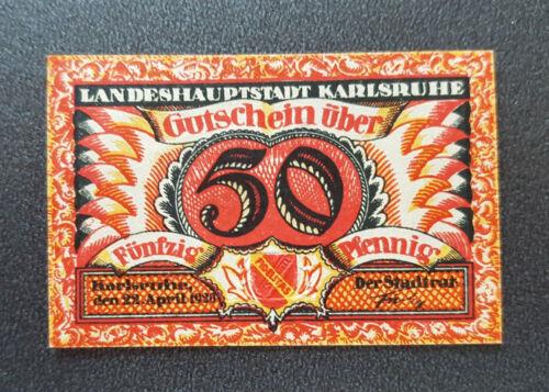 8595 KARLSRUHE NOTGELD 50 PFENNIG 1920 EMERGENCY MONEY GERMANY BANKNOTE