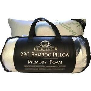 Hotel-Quality-Bamboo-Pillow-with-Memory-Foam-LuxClub-Premium-Queen-2-Pack