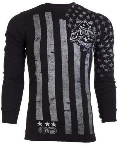 Archaic AFFLICTION Men THERMAL T-Shirt NATION American Customs Biker S-3XL $58 a