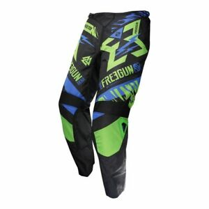 PANTALON-CROSS-SHOT-FREEGUN-TROPPER-NEON-vert-bleu-KID-12-13-ANS