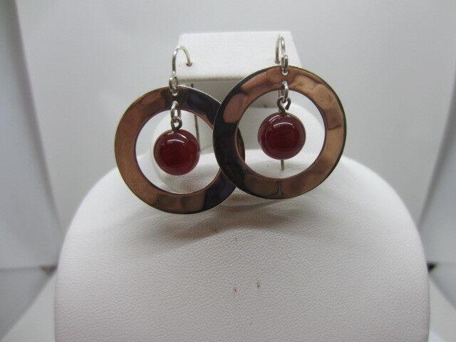 Robert Lee Morris RLM Studio Sterling Carnelian Bead Hammered Earrings