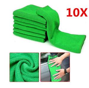 10Pcs Green Microfiber Washcloth Auto Car Care Soft Cleaning Towels Cloths Tool