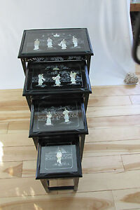 Merveilleux Image Is Loading VINTAGE CHINESE NESTING STACKING TABLES Set Of 4