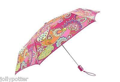 VERA BRADLEY Umbrella PINK SWIRLS w/ Sleeve Travel Car Work School Rain $34 NEW