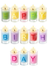 Image Is Loading Happy Birthday Candles Set Of 13 Individual Letter