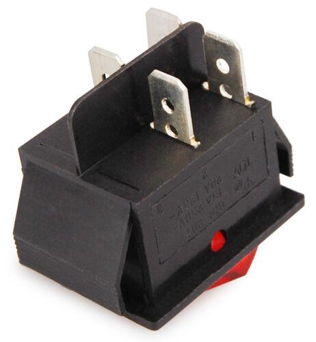 4 Kontakte 2-Polig Beleuchteter Wippschalter Rot Schalter Wippenschalter