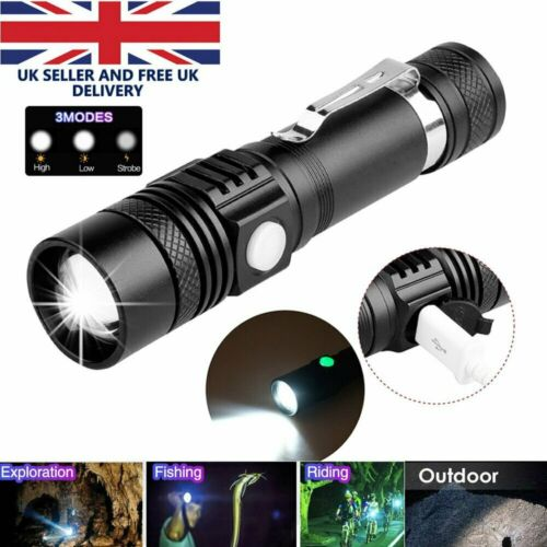 Super Bright LED Flashlight Waterproof Torch Zoomable Multi-function USB Charger