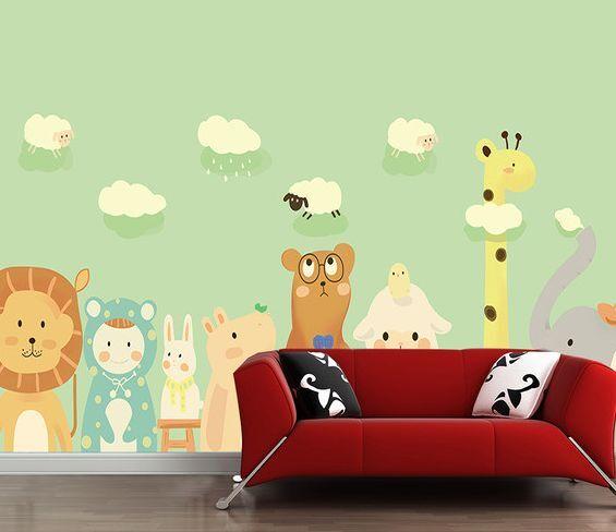 3D Giraffen, Löwen 11221 Fototapeten Wandbild Fototapete BildTapete Familie DE