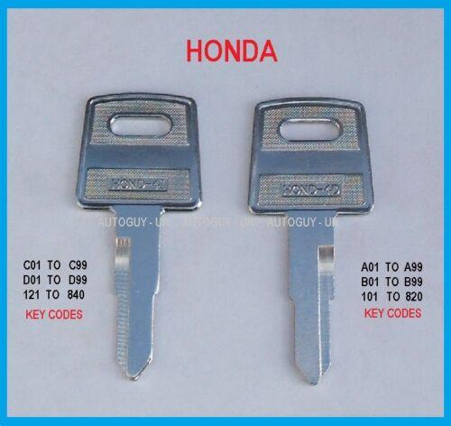D   replacement spare honda key Honda Quad key cut to code  A C B