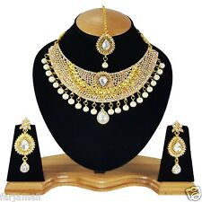 Gold Plated Party wear Kundan Zerconic Designer Pearl  Necklace Set
