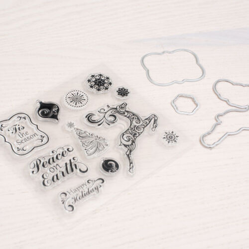Flourish Clear Stamp /& Die Set By Recollections 530067 CHRISTMAS