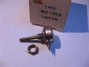 TRW-MC-105D-1Meg-Small-Potentiometer-Linear-Taper-PCB-Terminals-3-4-in-Shaft-NOS