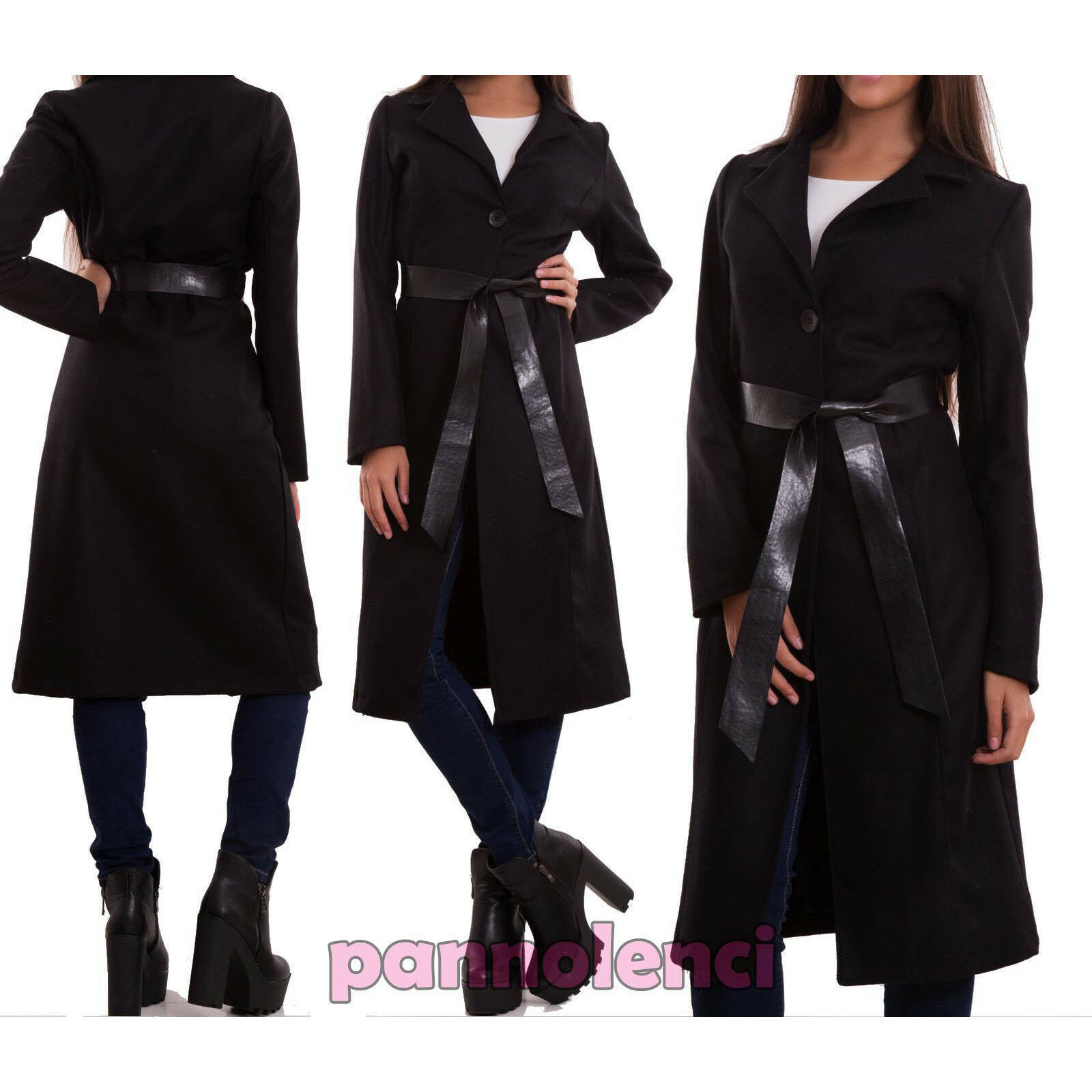 Manteau Femme Trench Laine Noir Élégant Veste Ceinture Cuir Écologique Neuf