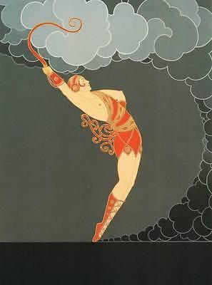 "Original Vintage Erte Art Deco Print ""The Dancer"" Fashion Book Plate"