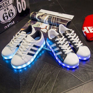 SAGUARO Unisex LED Light Up Sneakers Sportswear Striped Luminous Casual Shoes