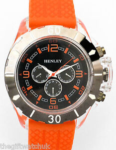 new henley mens big face sports watches silicone strap image is loading new henley mens big face sports watches silicone
