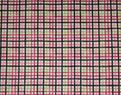 "WAVERLY RAINBOW PLAID PINK  GREEN STRIPE CURTAIN CUSHION FABRIC BY THE YARD 54""W"