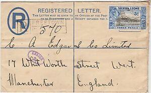 SIERRA LEONE 1941 KGVI POSTAL STATIONARY REGISTERED CENSOR ENVLEOPE TO ENGLAND