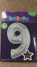 """34"""" Géant feuille d'argent numéro 9 Ballon Hélium Joyeux Anniversaire Fête Cadeaux"""