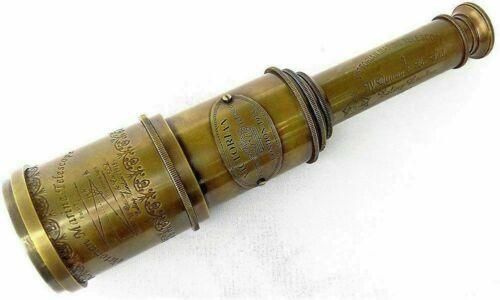 "Marine Telescope Nautical Antique Solid Brass Maritime Pirate Spyglass 20/"" box"