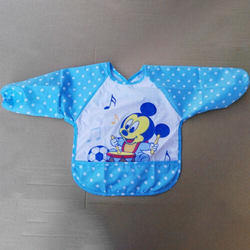 Baby Bibs Waterproof Long Sleeve Saliva Towel Boy Girl Kid Feeding Bandana Apron