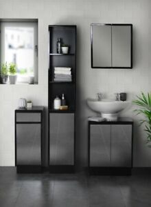 Black Mirrored Bathroom Furniture Range Under Sink Tallboy Storage Cabinet Ebay